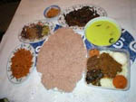 Sri Lankan ingredients with pink rice hopper flour